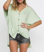 Buttoned Front Hi-Low Knit Top