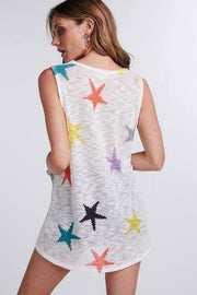 Sleeveless All Over Multi Color Star Print Top
