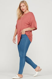 Plus Size Cutout Bamboo Top with Ruffle Sleeves