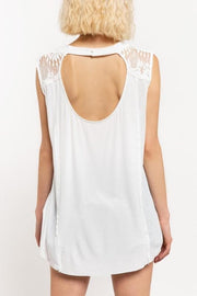 Pol - Lace Detail Sweetheart Sleeveless Top with Keyhole Back with Button Closure