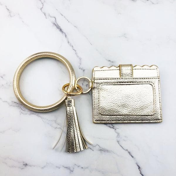 Bangle Keychain Purse with Scalloped Edge Card Holder