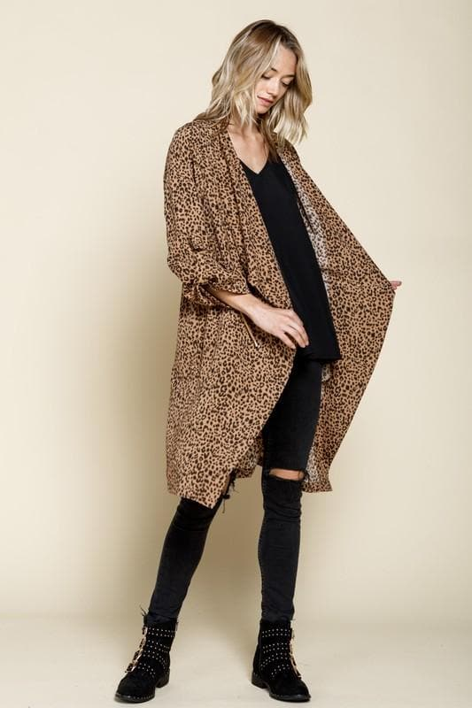 Leopard Draped Front Knee-Length Jacket