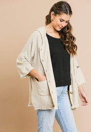 Linen Blend 3/4 Roll Up Sleeve Button Front Hooded Jacket with Pockets and Frayed Hem (S-2XL)