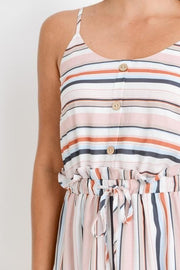 Striped Spaghetti Strap Dress with Waist Tie Detail