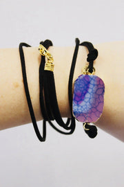 Custom Leather Wrap Druzy Bracelet w/ Logo (Black Leather)