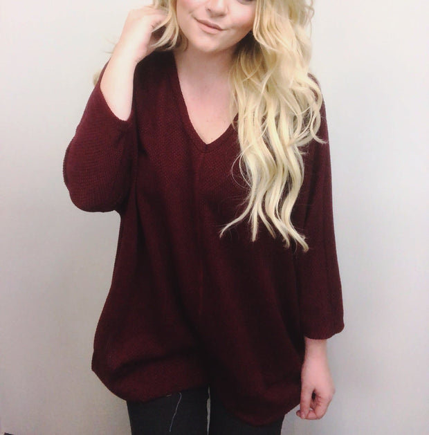 Jewel Dream Solid V-Neck Knit Sweater