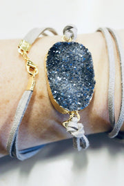 Custom Leather Wrap Druzy Bracelet w/ Logo (Grey Leather)