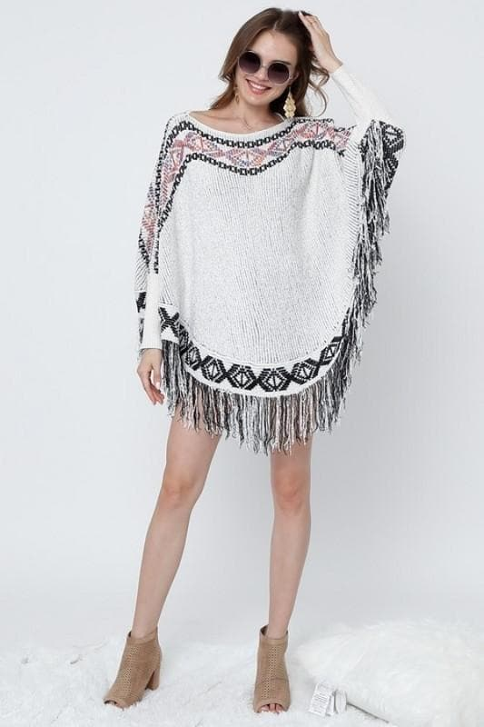 Tribal Chenille Poncho Sweater with Fringes (Regular & Plus Size)