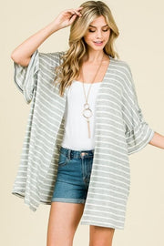 Ruffled Bell Sleeves Striped Cardigan