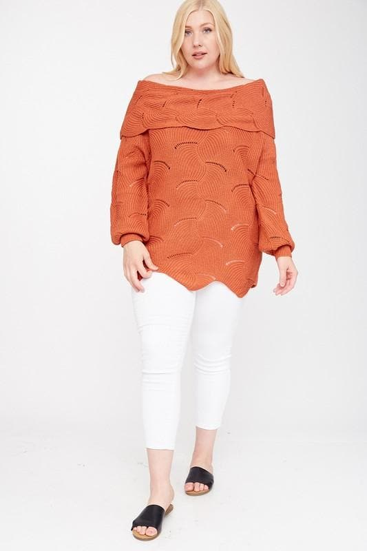 Plus Size Fold Over Neckline Sweater