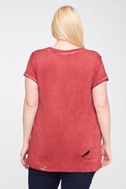Plus Size Washed V-Neck Top Featuring Raw Edge and Cut Out Detail
