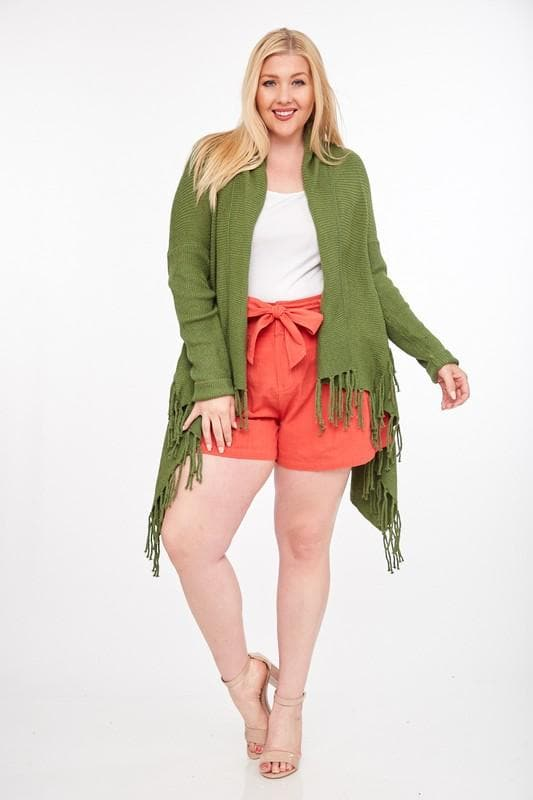 Plus Size Fringe Trim Long Sleeve Open Front Cardigan