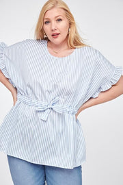 Plus Size Waist Tie Ruffled Top