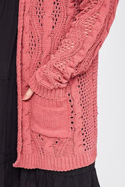 Plus Size Long Sleeve Chunky Open Front Knit Cardigan with Front Pockets