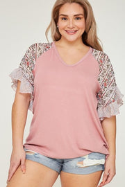 Plus Size Bell Sleeve Contrast Top
