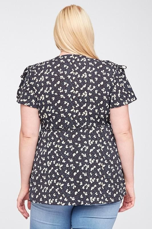 Plus Size Ruffled Wrap Floral Top
