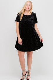 Plus Size Crushed Velvet Short Sleeve Pocket Dress
