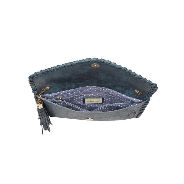 Daisy Clutch Perforated with a Whip Stitch Trim and Decorative Tassle