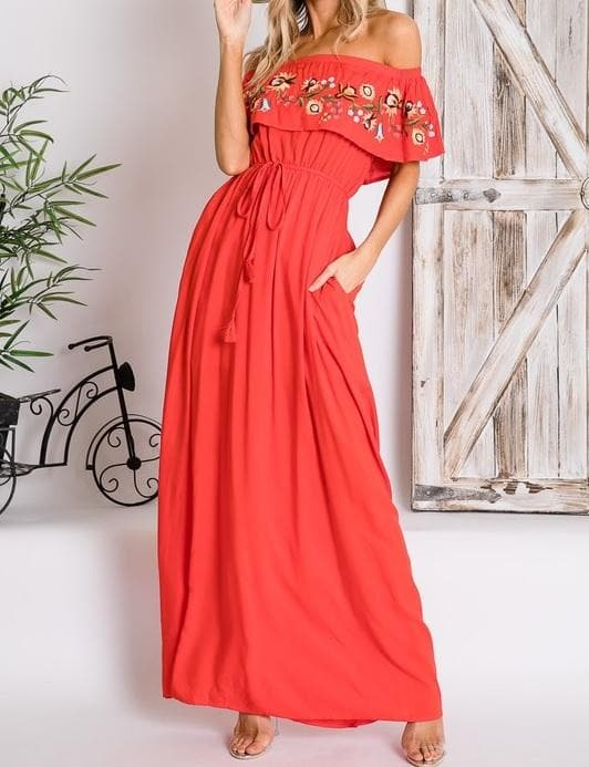 Floral Embroidered Off Shoulder Maxi Dress