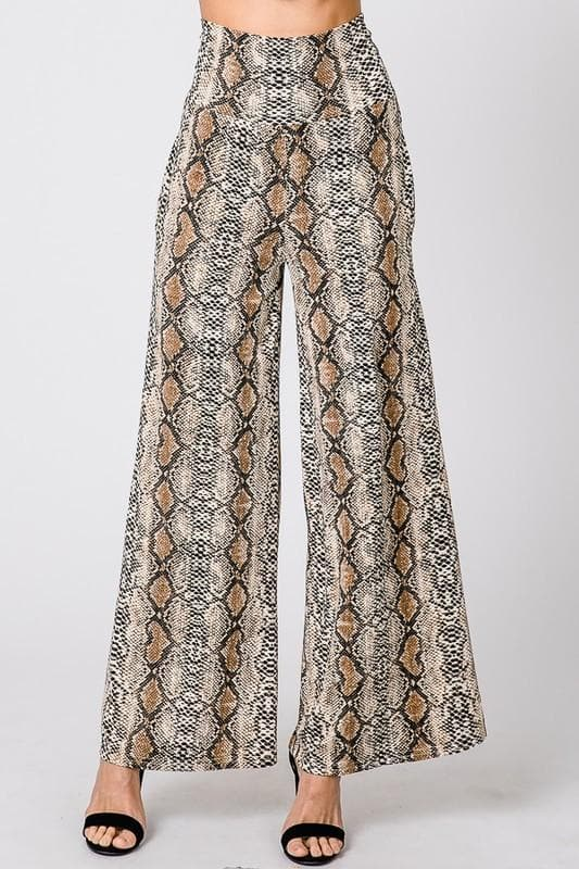 Wild Animal Python Print Draped Pants with Pockets