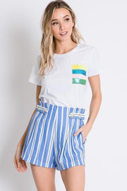 Summer Love - High Waist Stripe Shorts