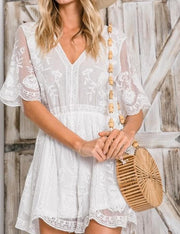 Boho Floral Lace Cutout Open Back Scallop Edge V-Neck Belle Sleeve Romper