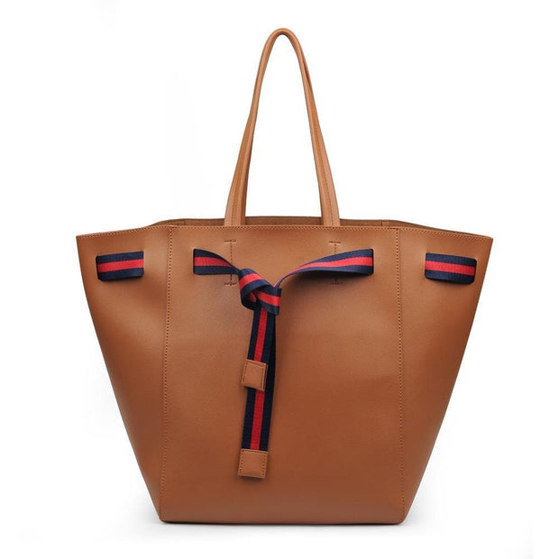 Dutchess Tote Purse with Exposed Stripe Drawstring Detail