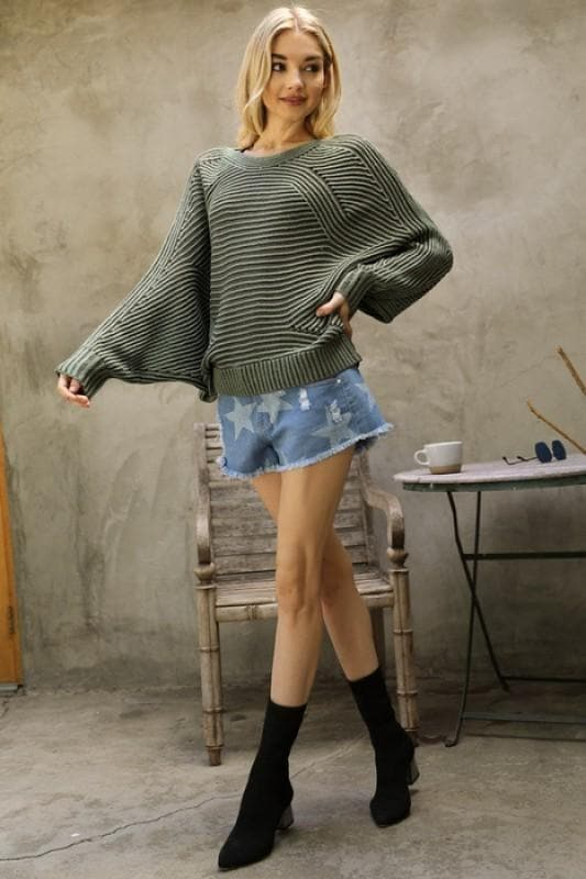 Rib Textured Accent Dolman Sleeve Sweater