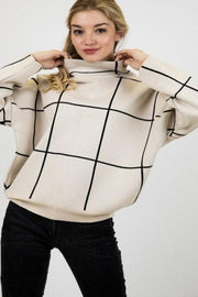 Grid Pattern Accent Mock Neck Pullover Sweater