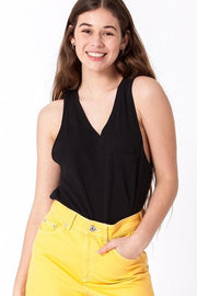 V-Neck Sleeveless Top with Pocket