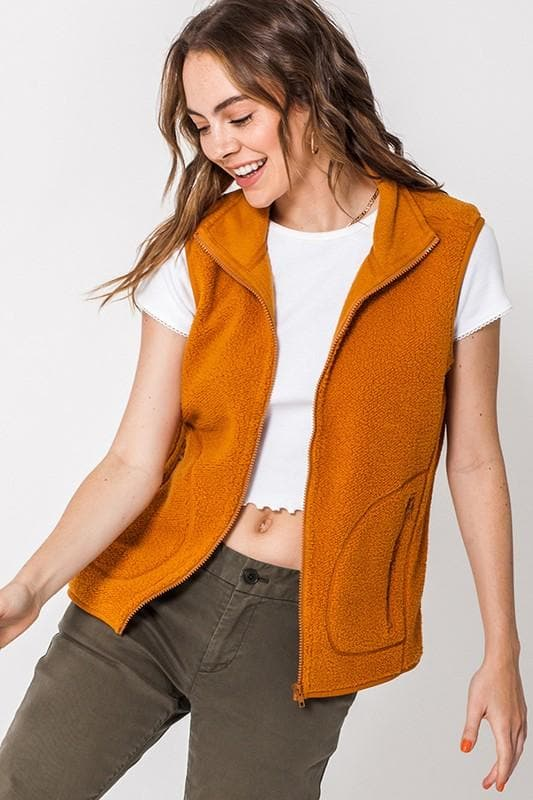 Full Zip Sherpa Vest with Pockets