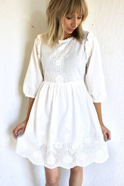Embroidered Lace Puff Sleeve Keyhole Dress