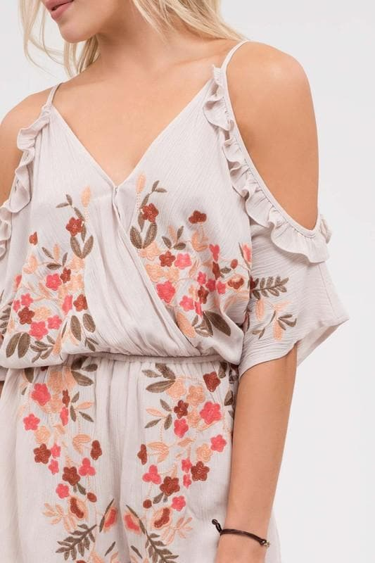 Cold Shoulder Floral Embroidered Romper