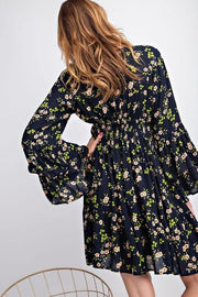 Easel - Belle Floral Print Ruffled Dress