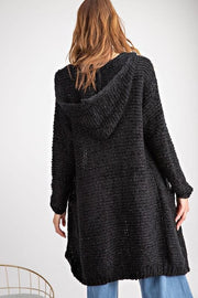 Easel - 2 Tone Knit Sweater Hoodie Open Front Cardigan