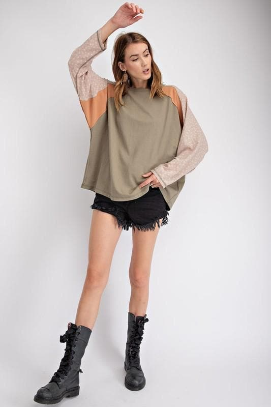 Easel - Mix N Match Color Blocked Terry Knit Boxy Pullover Top