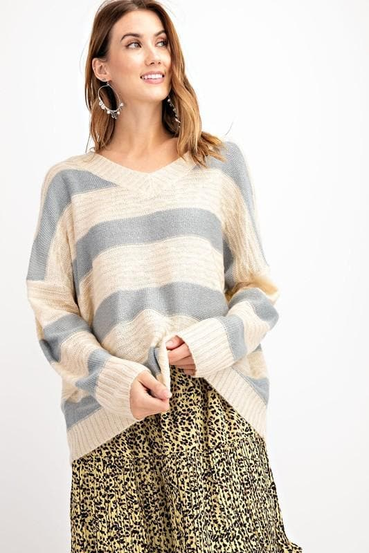 Easel - V-Neck Striped Loose Fit Sweater Top