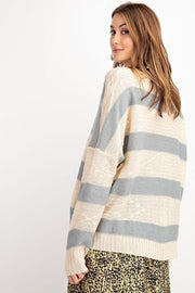 V-Neck Striped Loose Fit Sweater Top