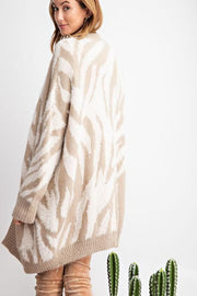 Easel - Long Sleeve Zebra Patterned Knitted Sweater Open Cardigan