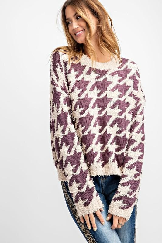 Easel - Hounds Tooth Knit Sweater
