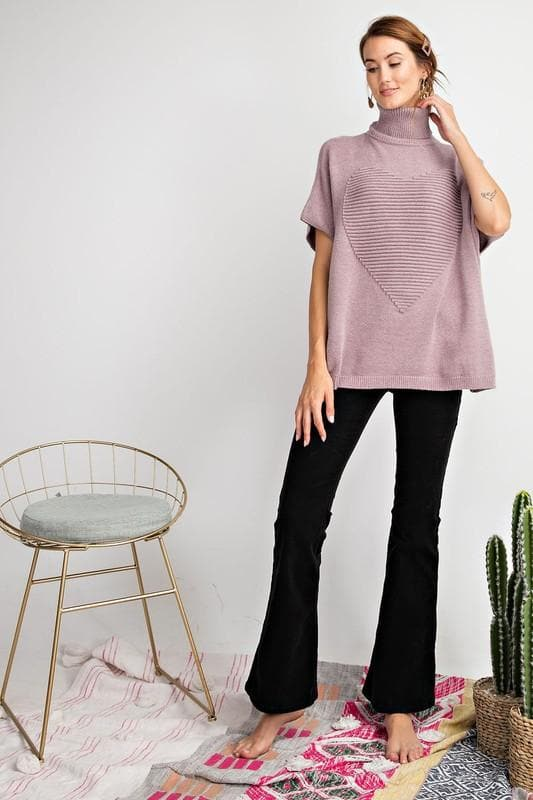 Easel - Short Sleeve Turtle Neck Heart Pullover Sweater
