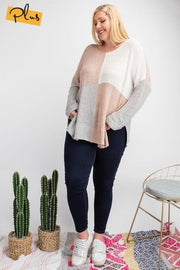 Plus Size Color Blocked Long Sleeve Boxy Sweater Knit Top