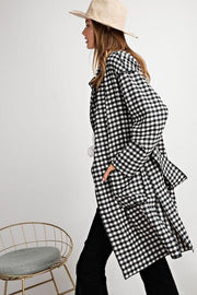 Easel - Plaid Knee Length Coat
