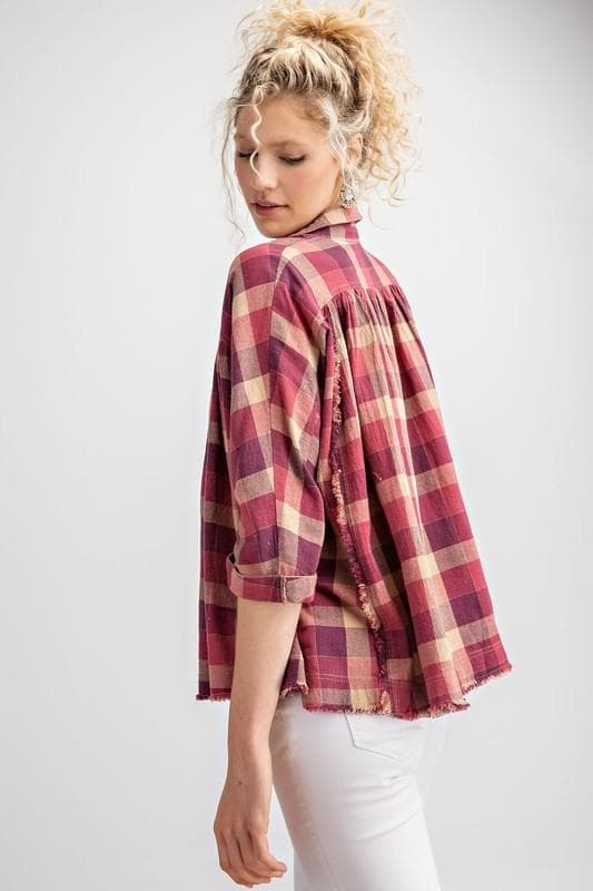 Easel - Long Sleeve Plaid Oversized Button Down Top