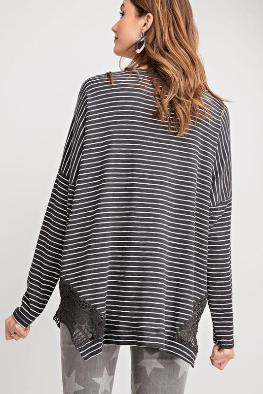 Easel - Pin Stripe Pullover Top (S-3XL)