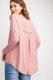 Easel - Betty Long Sleeve Viscose Crepe Knit Loose Fit Tunic (S-3XL)