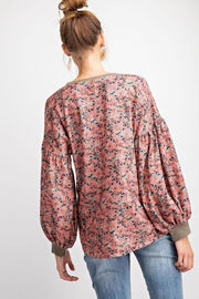 Easel - Long Sleeve Floral Printed Corduroy-Velvet Sweater Knit Pullover
