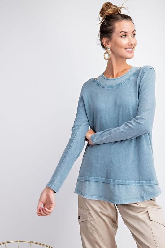 Long Sleeve Cold Shoulder Mineral Washed Knit Top