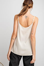 Easel - Novelty Satin Lace Detailing Cami Tank