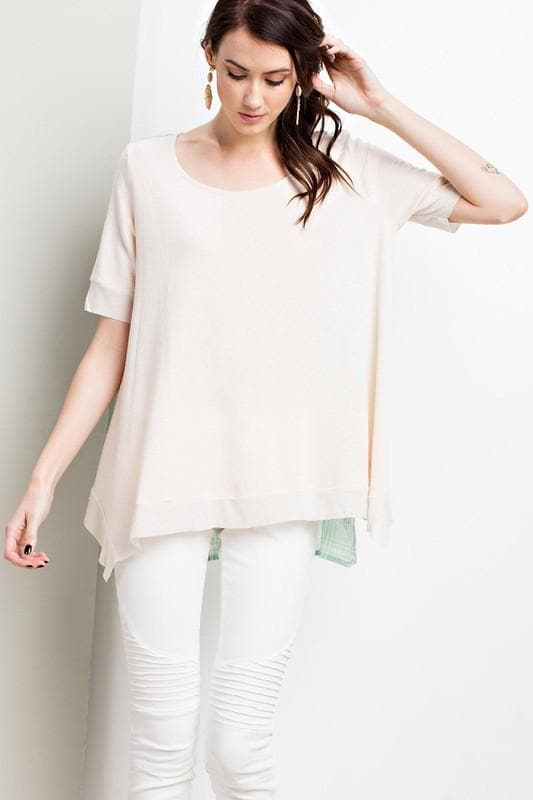 Easel - Casual Fit Short Sleeve Terry Knit Top